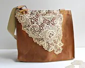 Waxed Canvas Lace Tote Bag -Women's Shoulder Bag - Vintage Lace - Rusty Brown - MomoTrees