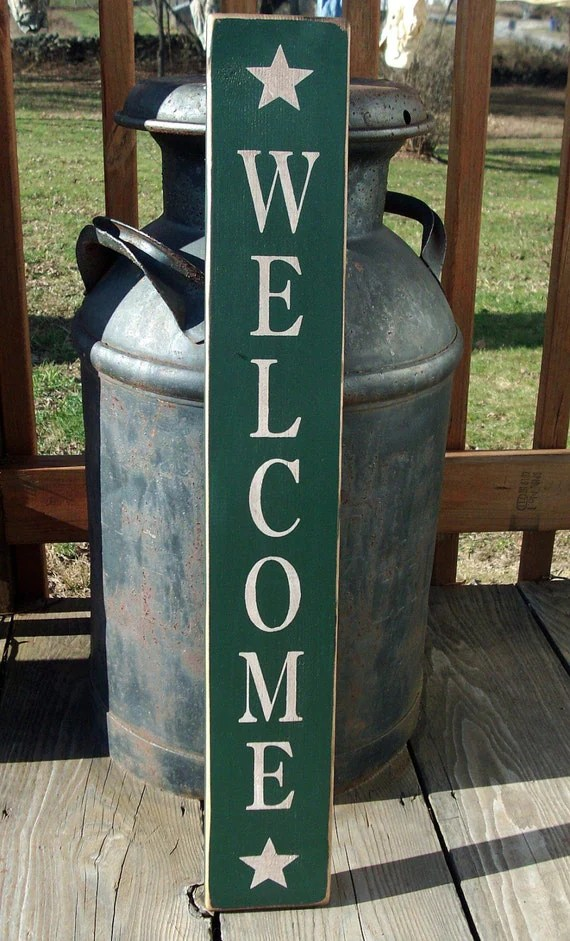 Items Similar To Primitive Wood Welcome Sign With Stars On