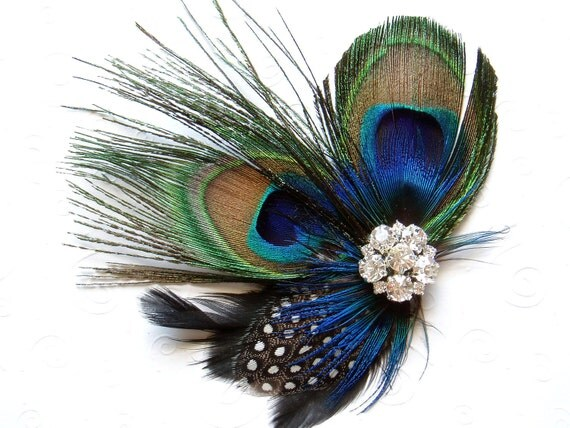 Items Similar To Blue Peacock Feather Hair Clip WEDDING