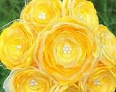 Jillianns BRIGHT YELLOW satin, tulle, and beads bouquet - JILLIANNS