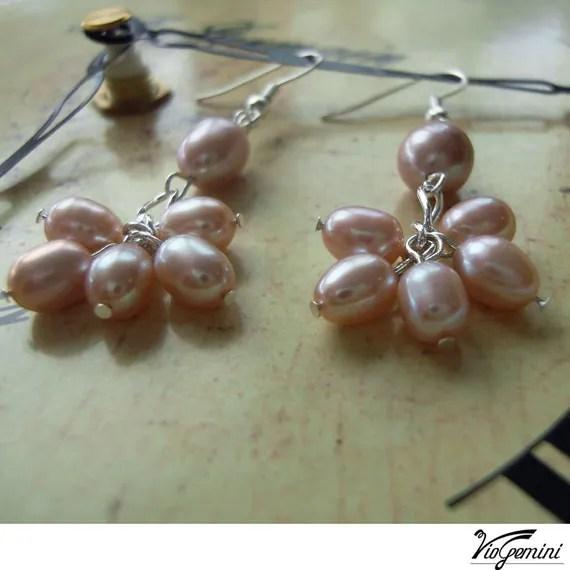 Bridal earrings with  lavender freshwater pearls