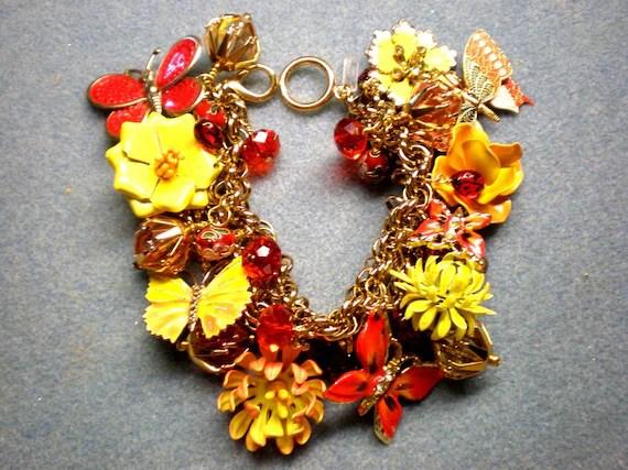Repurposed Vintage Charm Bracelet / Flower / Butterfly - Butterfly Garden - fripperyfrosting
