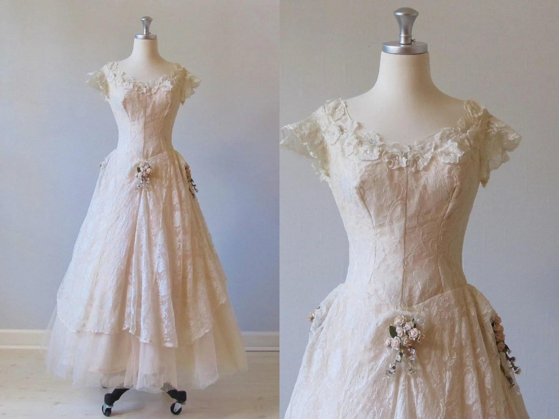 RESERVED Wedding Dress / Vintage 1950s Blush Wedding Dress
