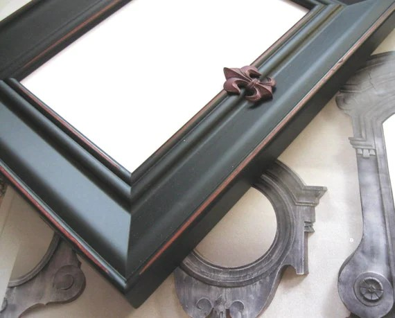 Black photo frame, free shipping, Fleur di lis, wood, wedding, shabby chic, French Country decor, easel back