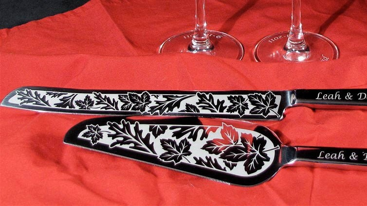 Fall Wedding Cake Server And Knife Set Personalized By