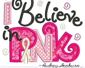 i believe in pink breast cancer ribbon applique 4x4 5x7 6x10 7x11 machine embroidery design