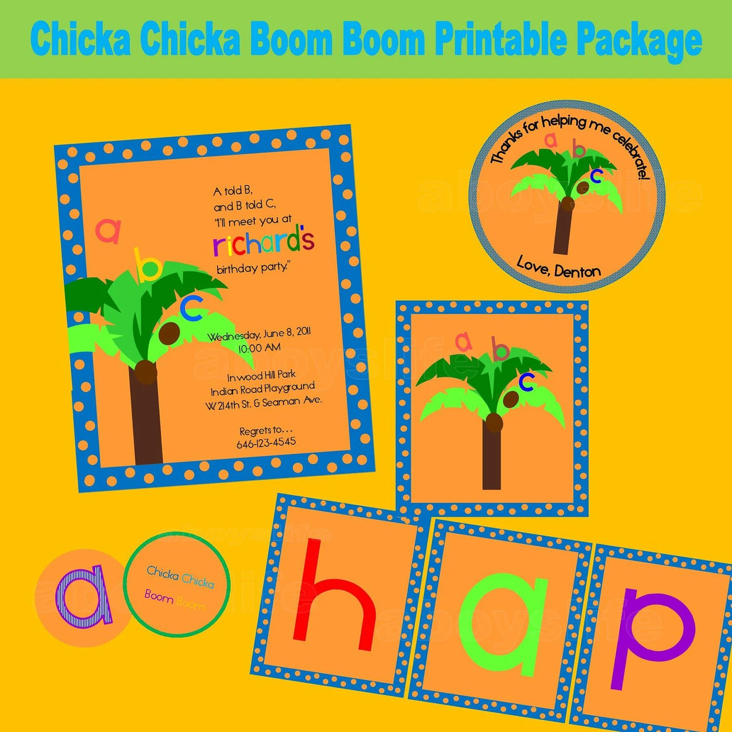 Chicka Chicka Boom Boom Boy S Printable Party Package