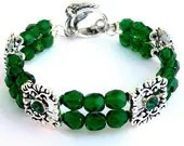 Emerald green bracelet, Czech glass and crystal spacers, double strand - Mindielee