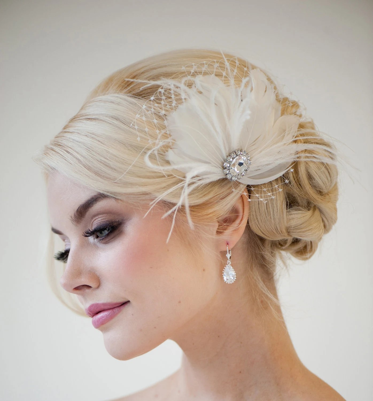 Bridal Feather Fascinator Feather Wedding Headpiece Bridal