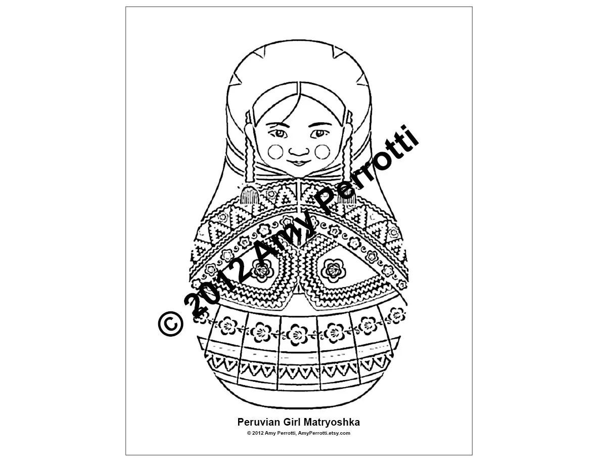 Peruvian Girl Matryoshka Coloring Sheet Printable File