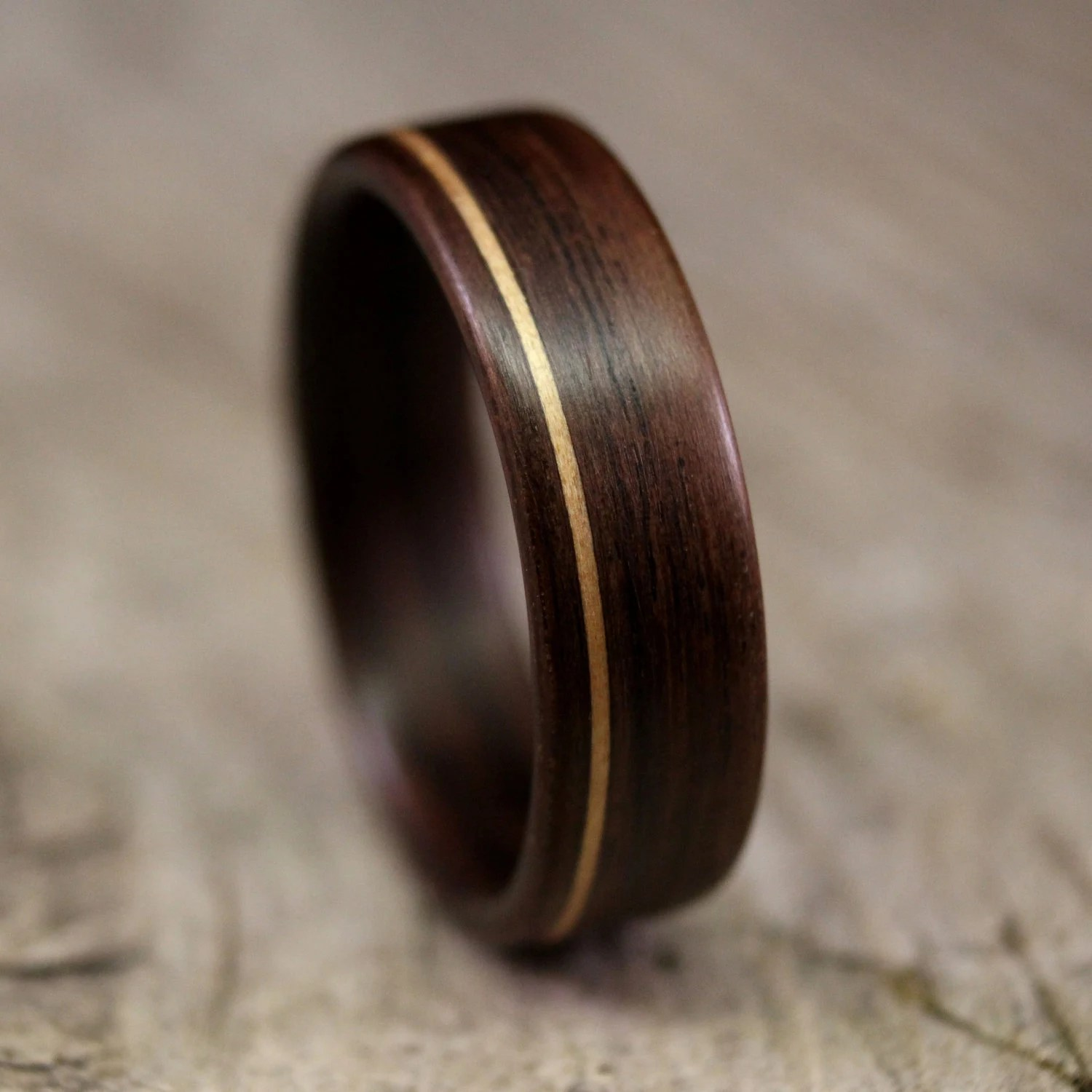 Indian Rosewood Bentwood Ring With Koa Inlay Handcrafted