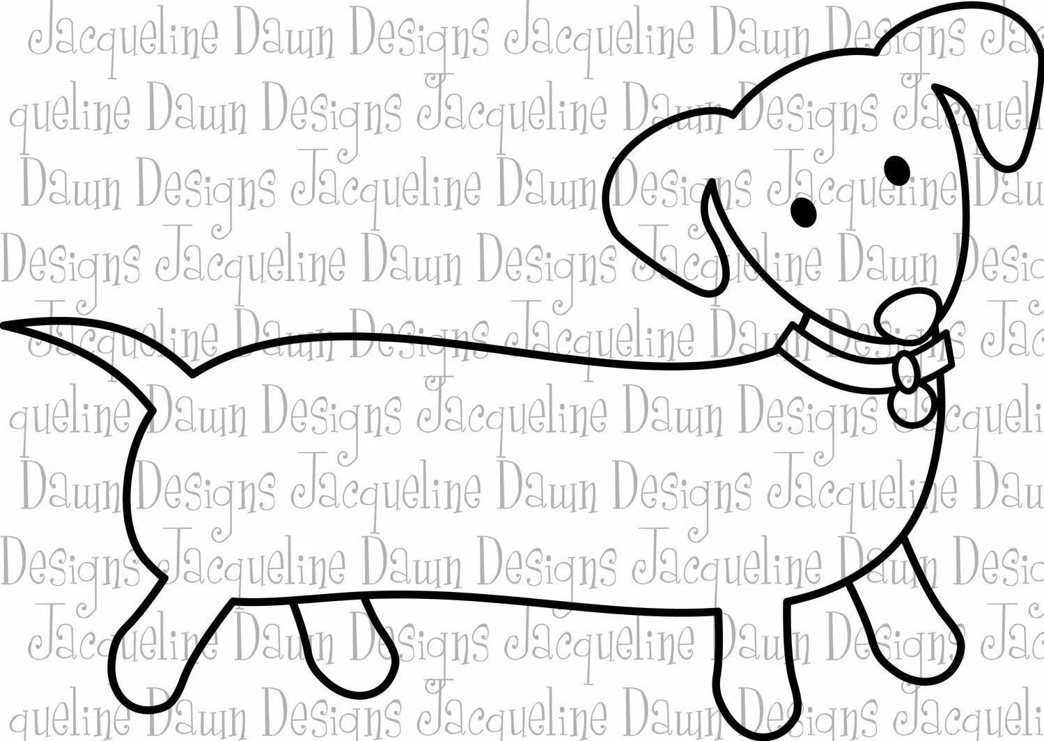 Digital Stamp Dachshund By Paperaddictions On Etsy