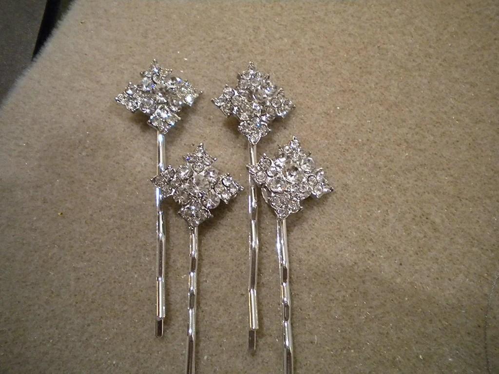 Wedding Hair Pin Diamond Shape Rhinestone Desination