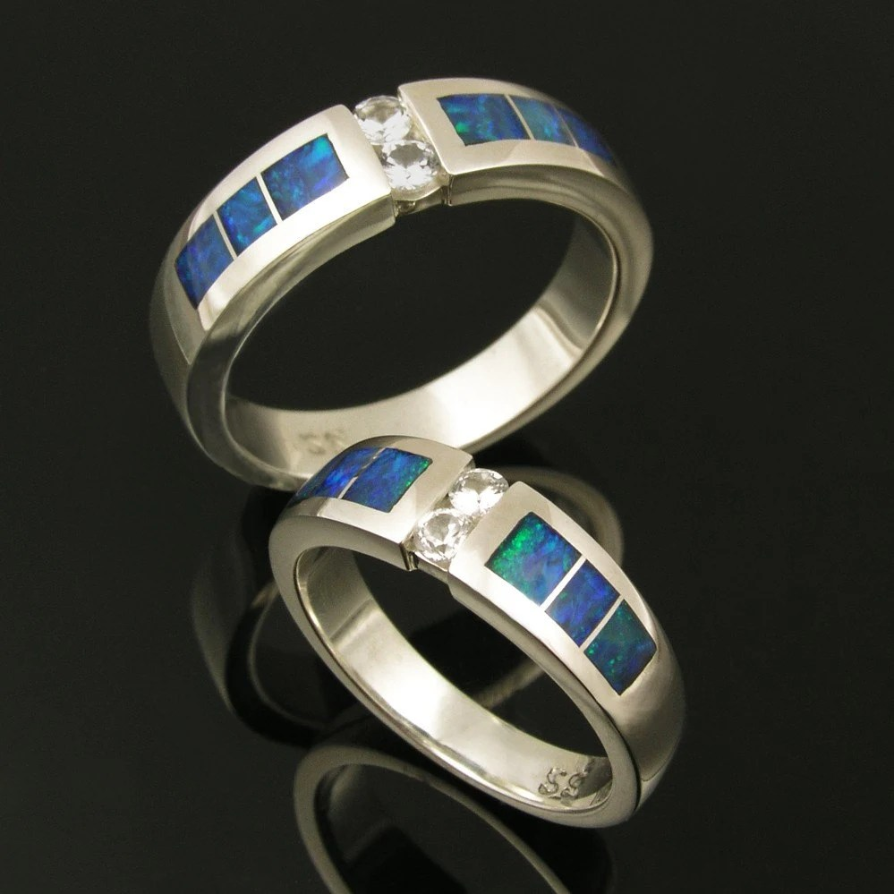 Australian Opal Wedding Ring Set With White Sapphires In