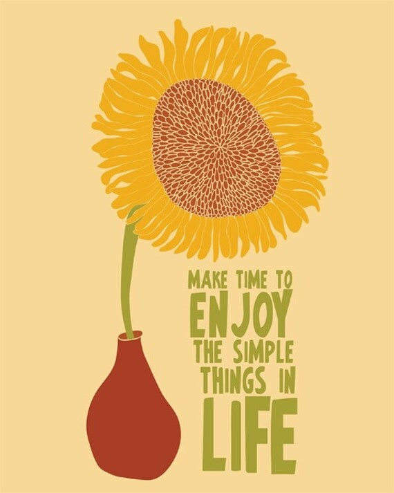 Sunflower Print Art, Sunflower Poster, Inspirational Quote Art, Modern Art Print / Sunflower Illustration Quote Art - ParadaCreations