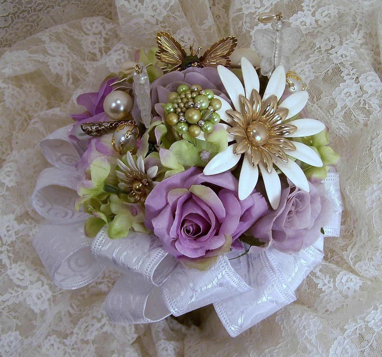 Stunning White Beaded Butterfly Wedding Bouquet Estate Brooch