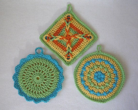 Colorful Pot Holder Set Crochet Pattern