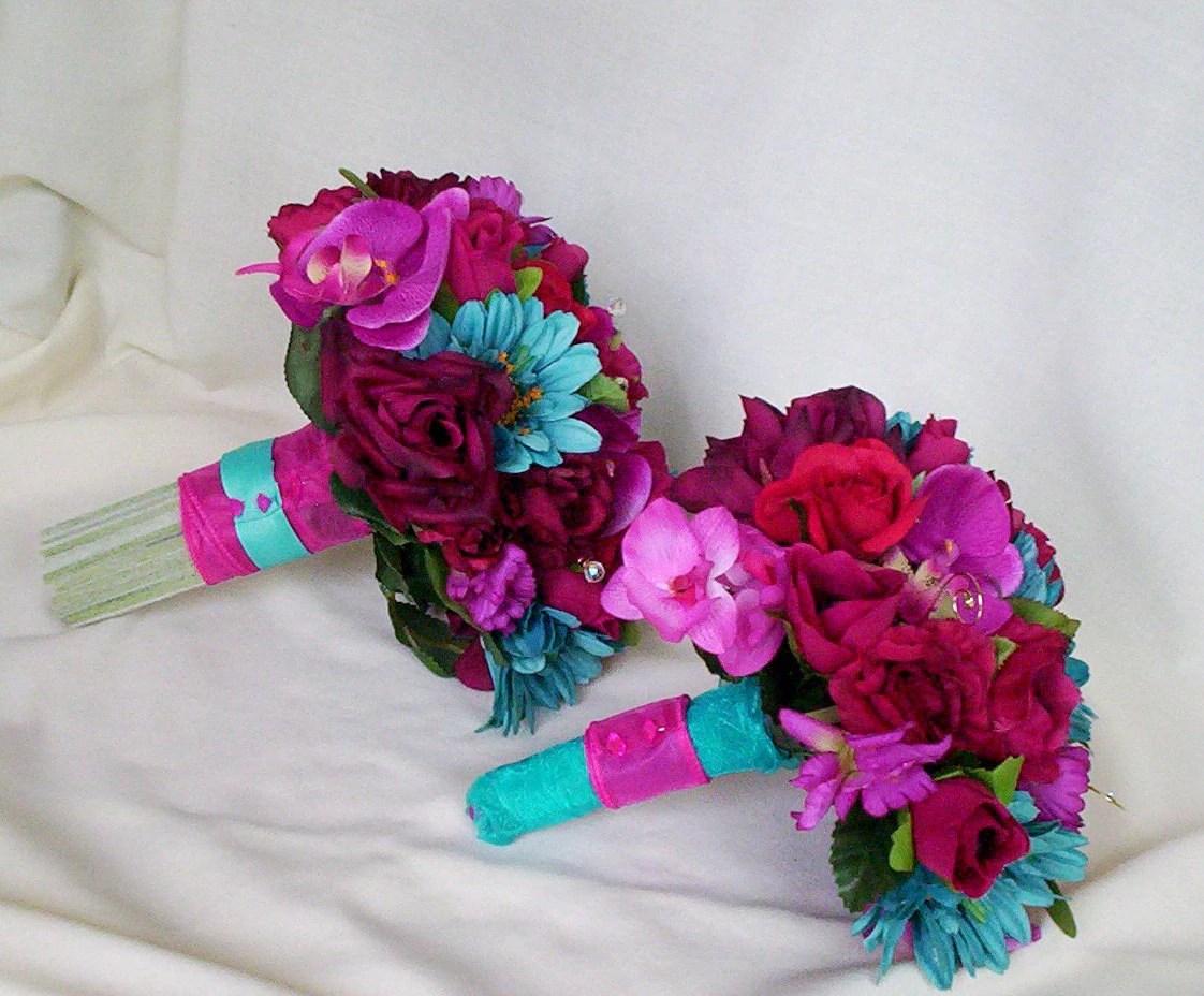 Fuschia Wedding Flower Package Malibu Turquoise Custom For