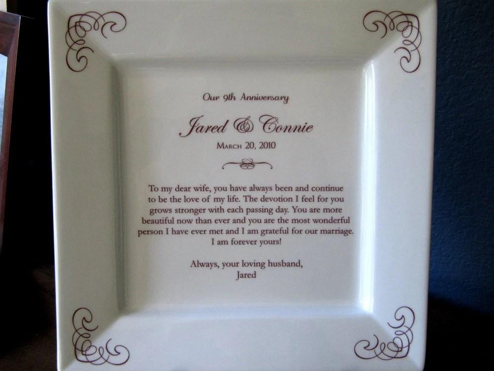Ninth 9th Anniversary Gift Platter By Customsepia On Etsy
