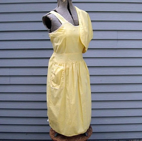 vintage 1950s cotton sundress and jacket plus large size summer pinafore look