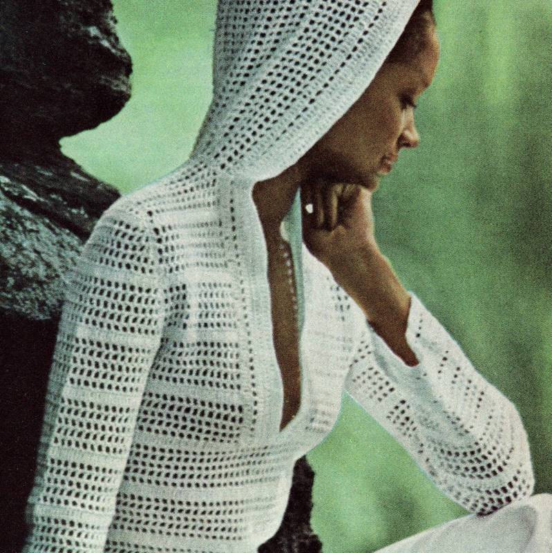 Instant Download Pdf Vintage Crochet Pattern 1970s Hooded Tunic