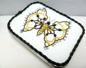 Tatted Lace Keepsake Butterfly in black and gold -Abagail