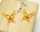 Tiny Tatted Butterfly Earrings -PIXIES in golden yellow with Swarovski