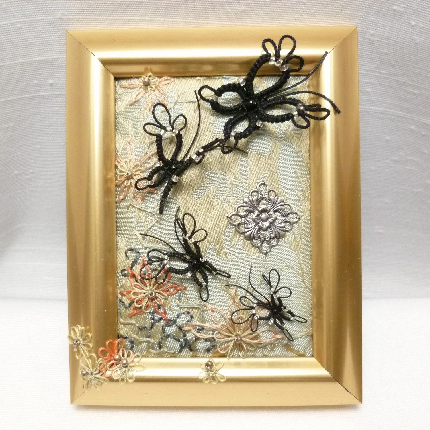 Tatted and Embroidered Framed Butterfly Portrait -Follow Me