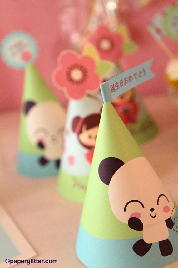 Panda Cherry Blossom Japanese Kawaii Love Birthday Party