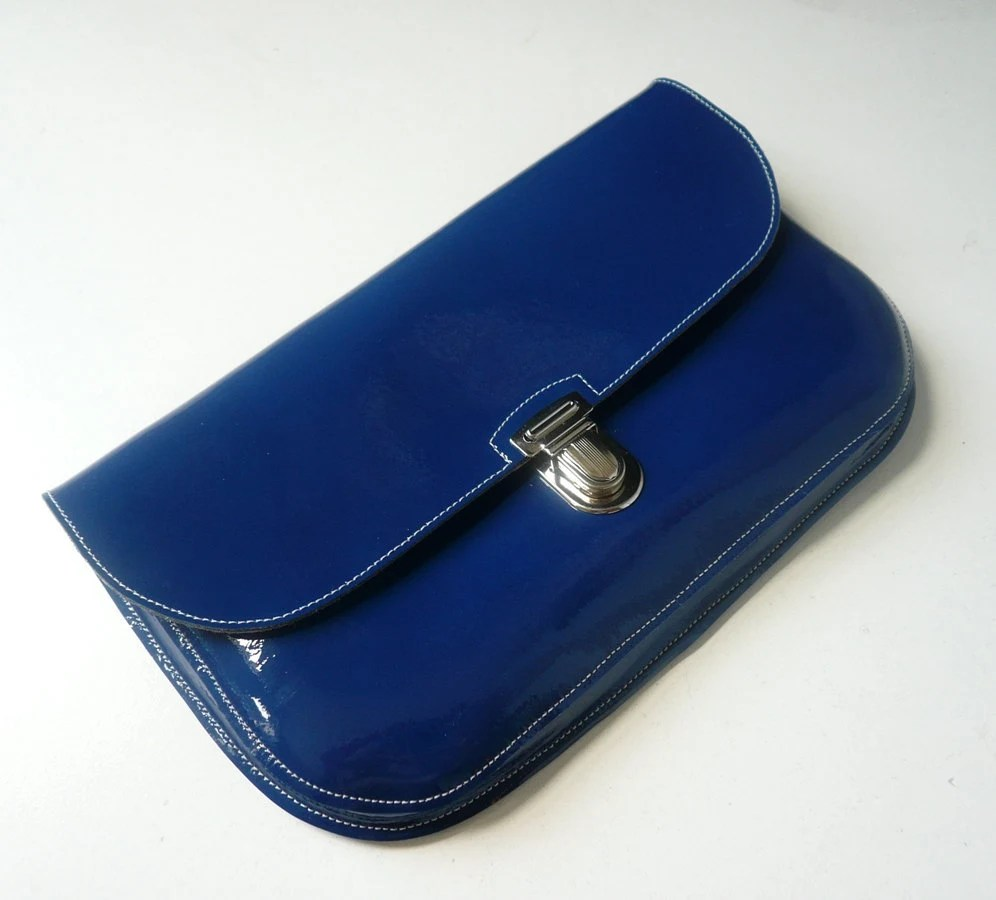 Royal Blue Patent Leather Clutch - frenchenglish