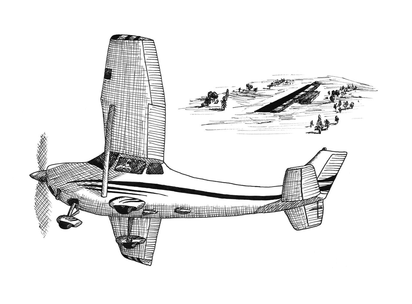 Family Tie Downs Aviation Airplane Drawing 5x7 Print By