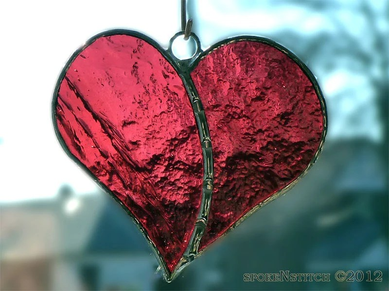 Valentines Day Heart Stained Glass Ornament Suncatcher