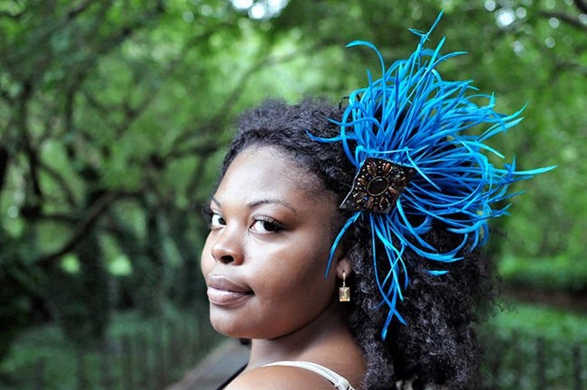 Items Similar To Natural Hair Accessories Blue Feather