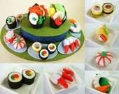 New--DIY felt Rotating Sushi set PDF Pattern via Email--F22 - fairyfox