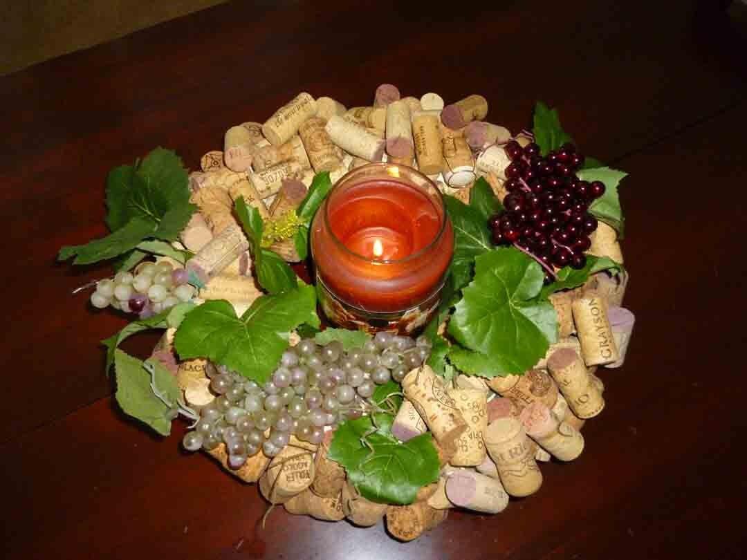 Wine Cork Wreath/ Table Centerpiece