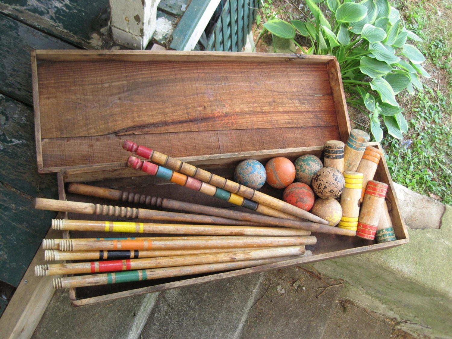 Fabulously Vintage Croquet Set In Wooden Box