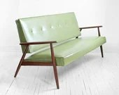 Mid Century Green Sofa - Modern, Wood, Couch, Retro, Leather look, Eames - Hindsvik