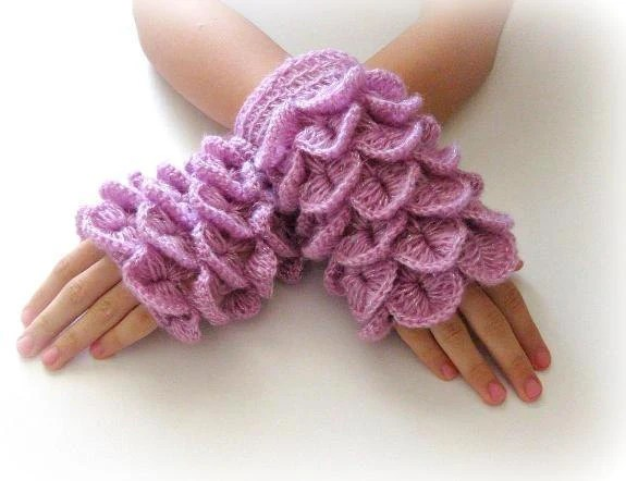 Fingerless Gloves , Lilac, Purple, Trendy, Grily, Teenie, Women, Flower - Iovelycrochet