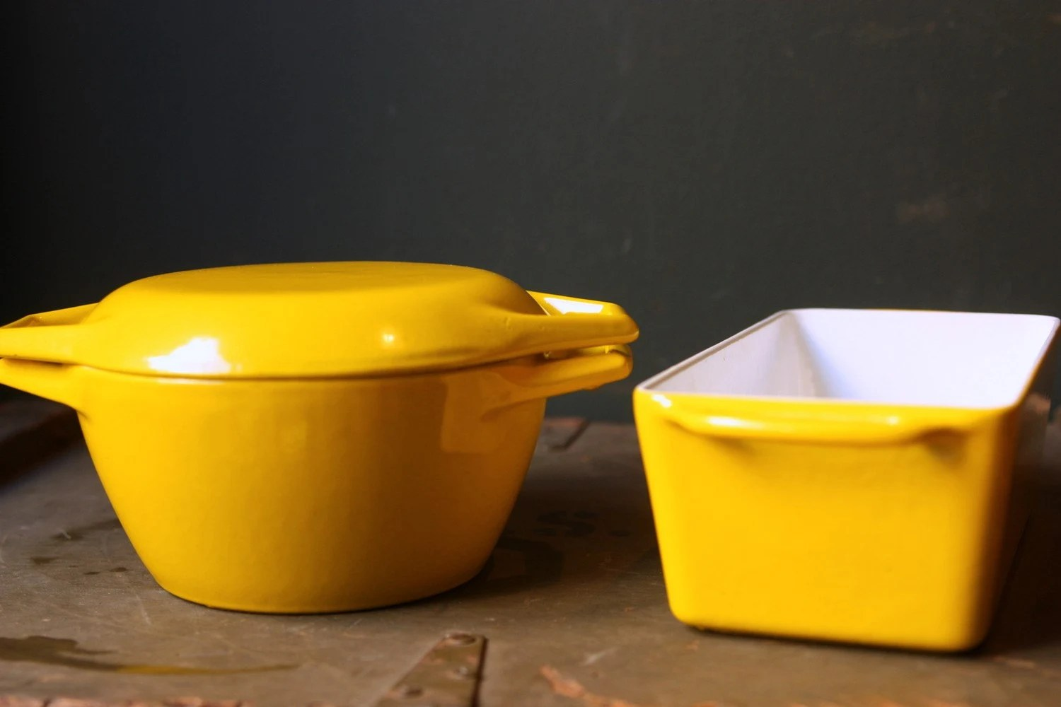 Vintage Cookware Yellow Cast Iron Enamel