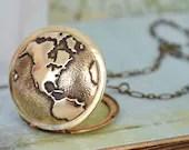 vintage locket necklace, TRAVEL THE WORLD,  globe locket, world map locket, the earth locket, traveler's locket - plasticouture