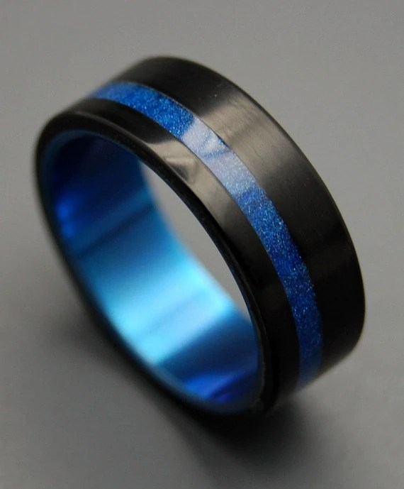Black Rings Titanium Ring Titanium Resin Wedding Band Blue