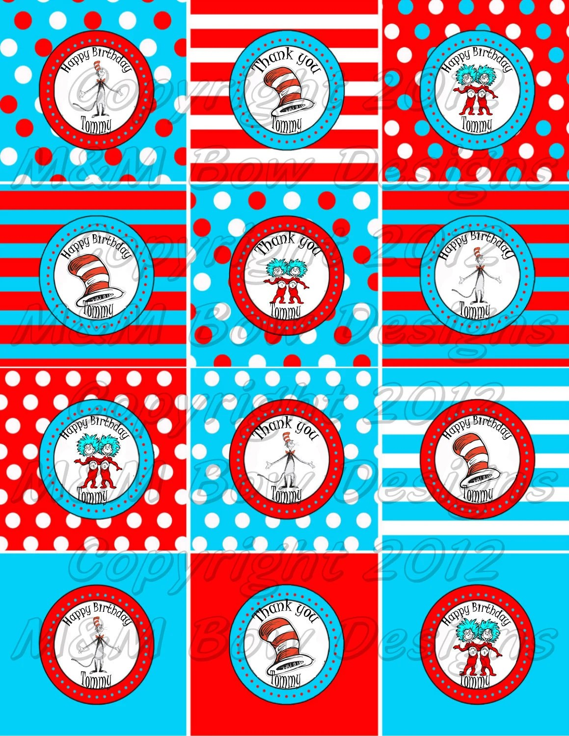 Dr Seuss Cat In The Hat Personalized Printable Birthday Party