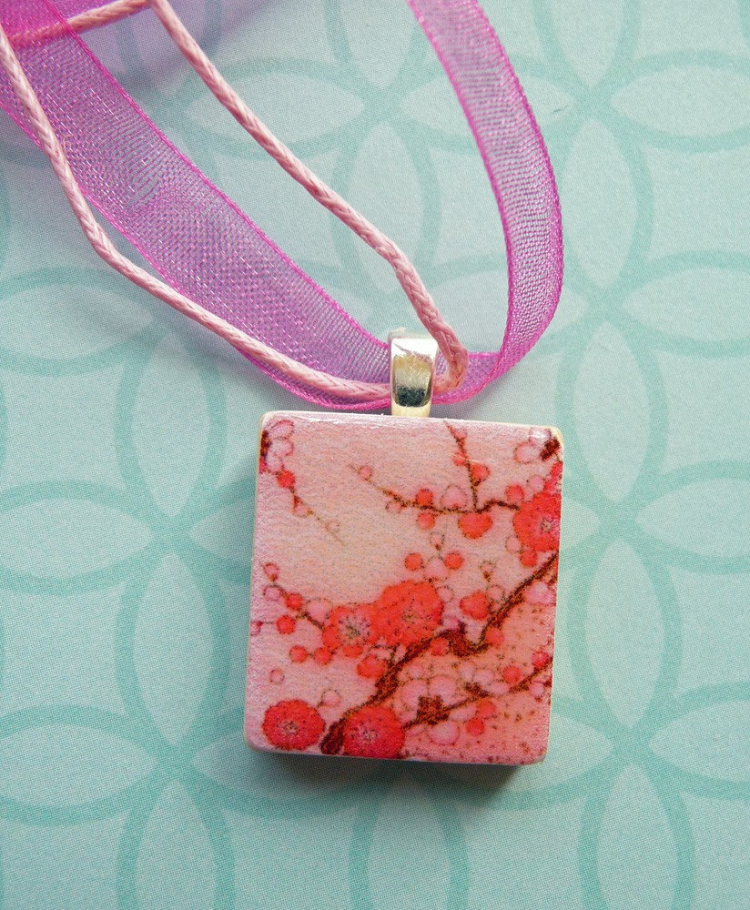 Japanese cherry blossom. Glazed Scrabble tile pendant, with handmade ribbon necklace.
