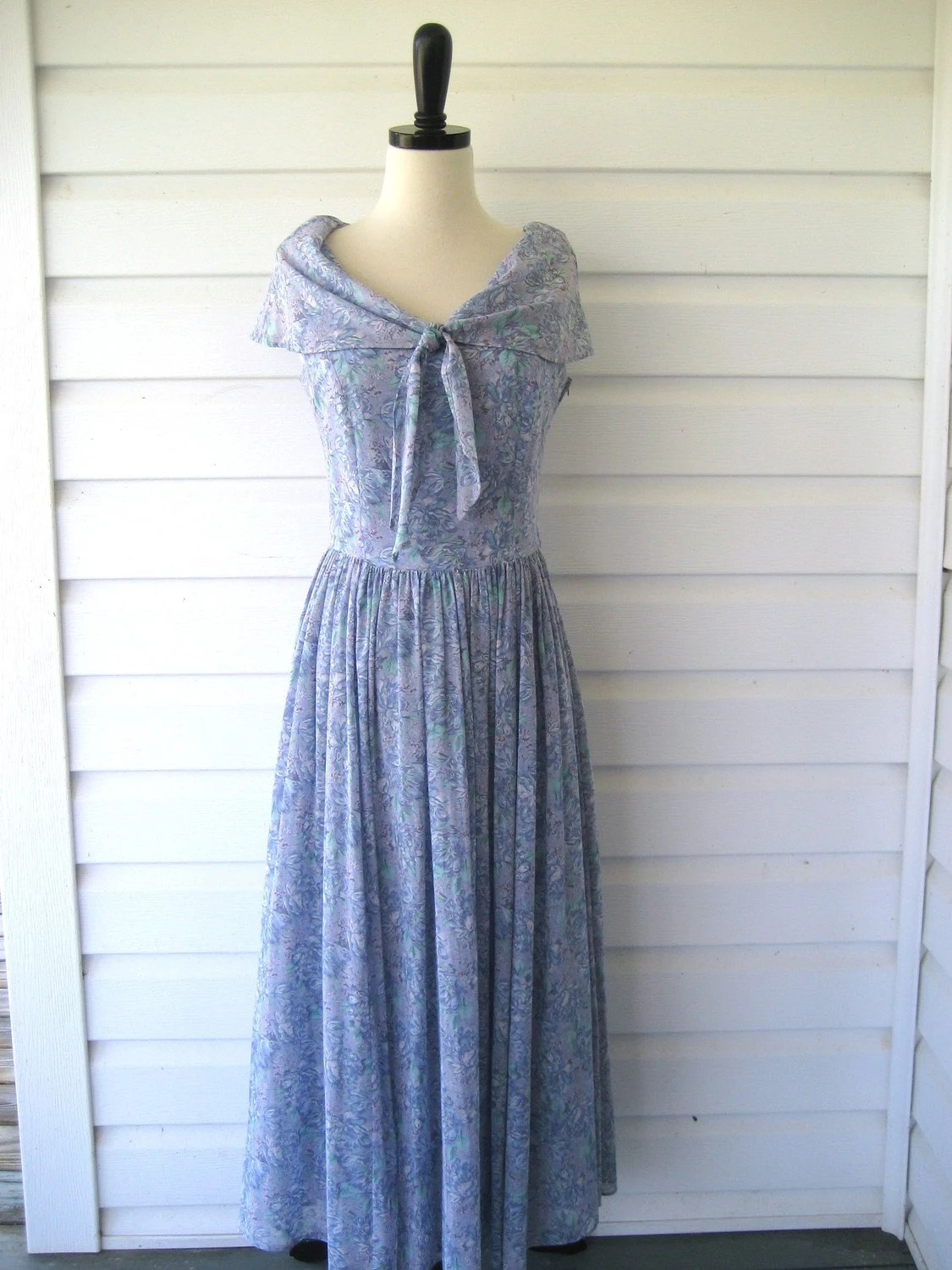 Vintage Laura Ashley Cotton Summer Dress Full Sweep Garden
