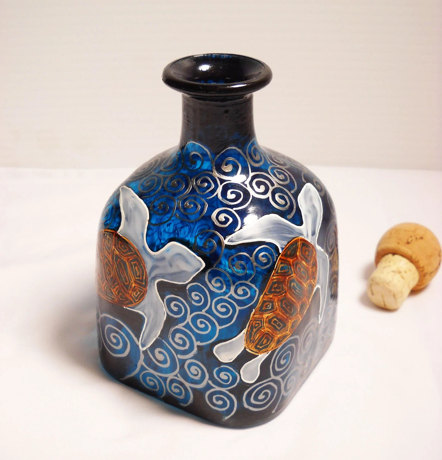 Painted Decanter Bottle Art, Hand Painted Turtle Decanter small Moana & the Spirit Turtle