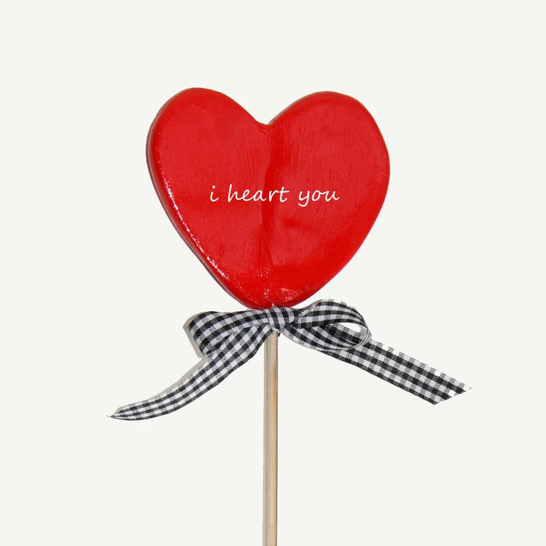 Lolly Heart - I heart you in Red , photographic printred heart with black and white gingham bow,  mother's day, valentine day - TheJoyofColor