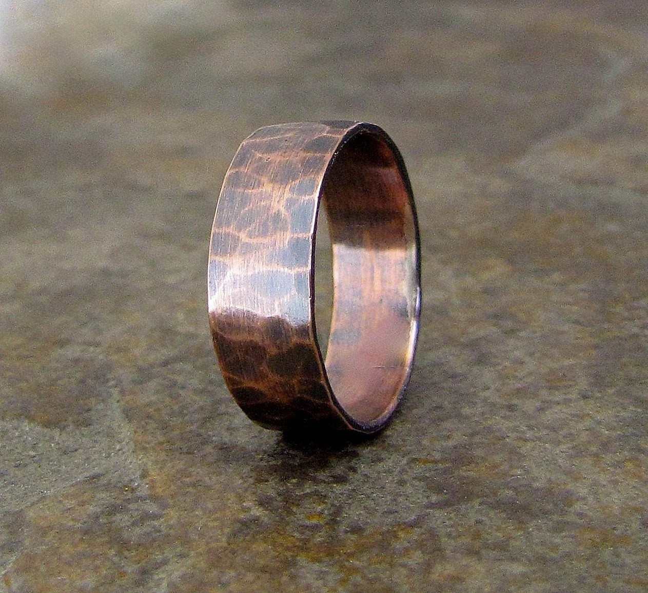 Items Similar To Copper Hammered Ring Wide Oxidized