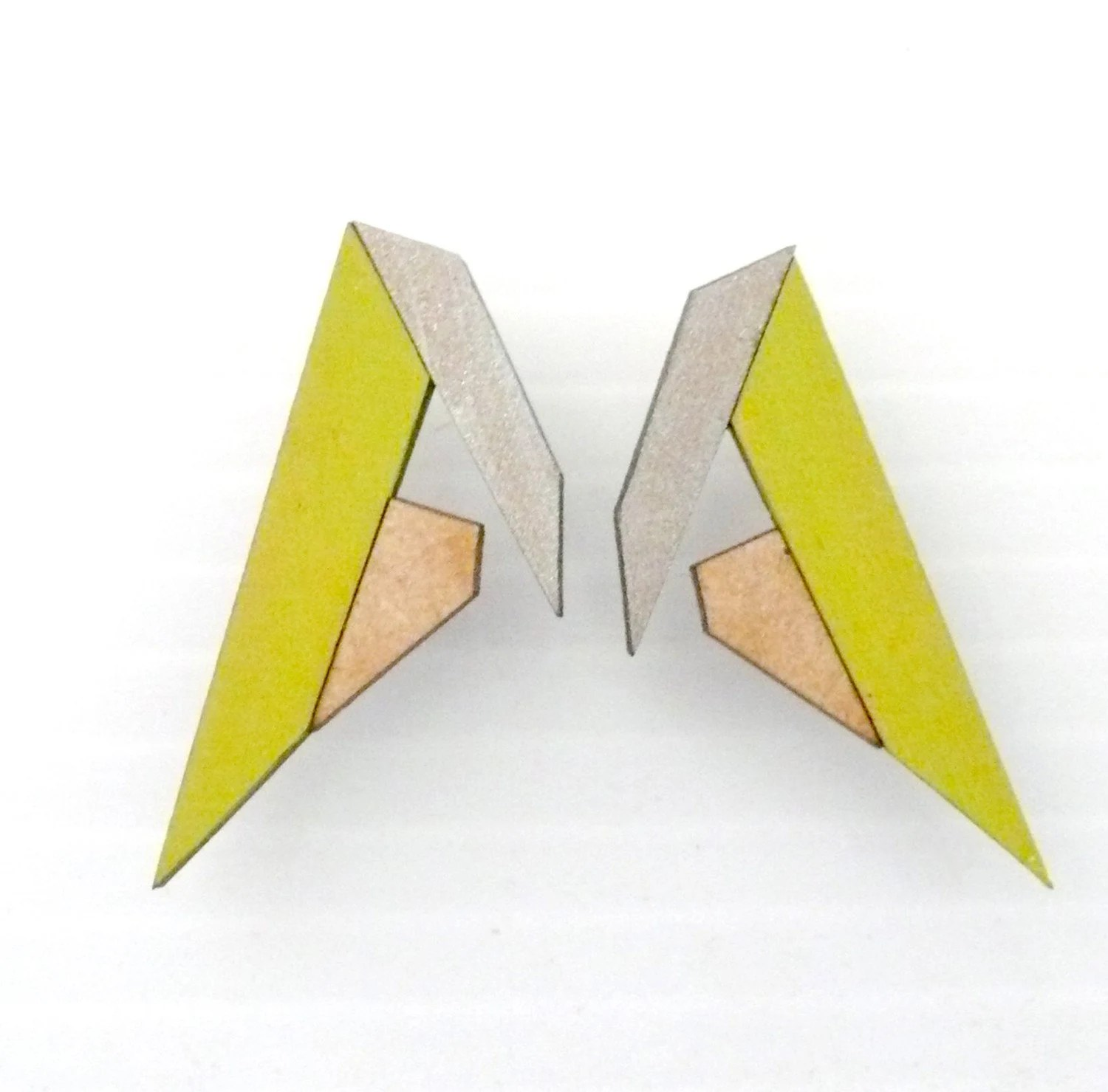 Future Stud Earrings - Lime, Silver & Natural