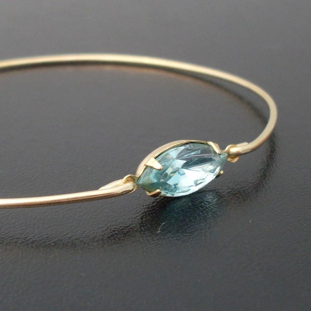 Aquamarine Bangle Bracelet, Laina, Aquamarine Bracelet, Gold and Blue Bangle Bracelet, Blue Rhinestone Bracelet, Blue Aquamarine Jewelry
