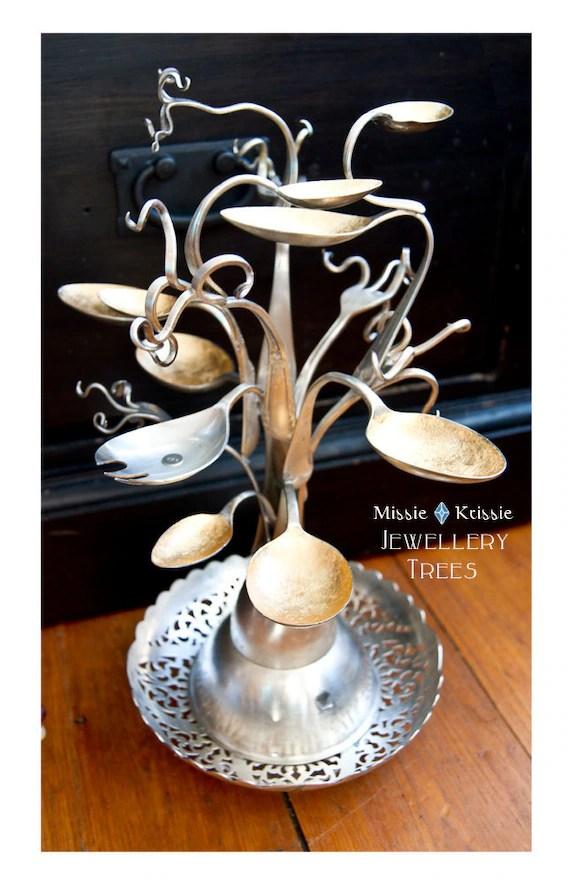 Unusual Craft Display Idea Repurposed Silverware Jewelry Tree